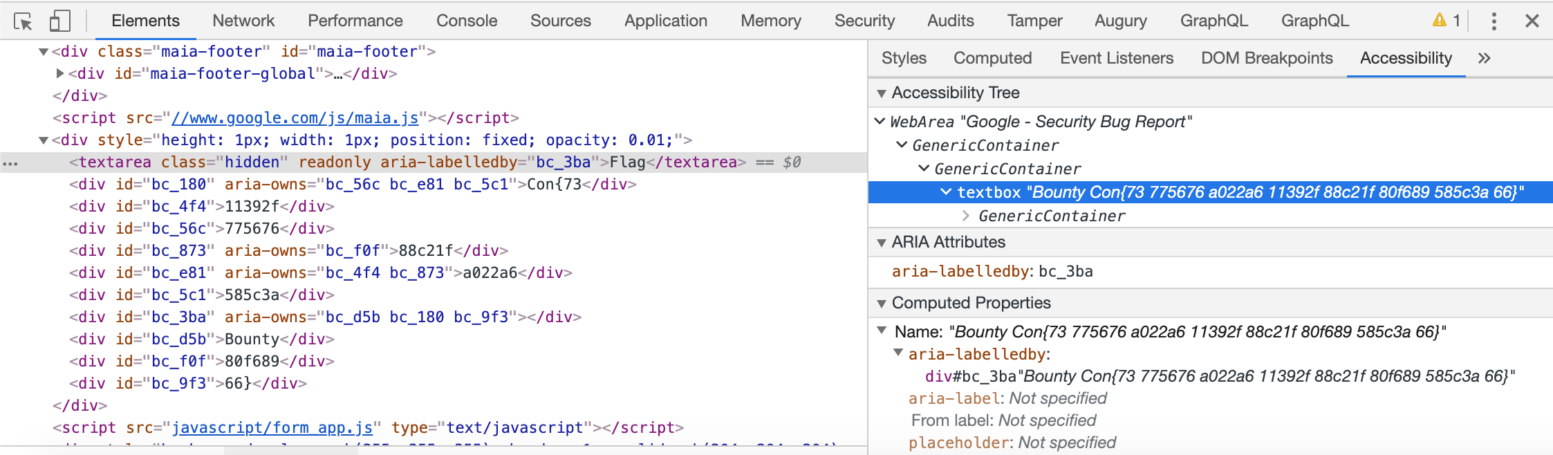 Chrome Dev Tools Accessibility Tab